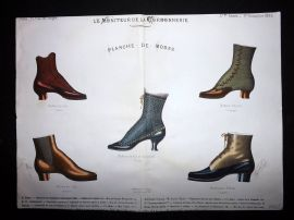 Le Moniteur de la Cordonnerie 1886 Rare Hand Colored Shoe Design Print 51